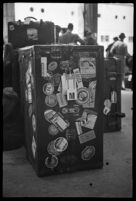 Luggage belonging to a passenger of the S.S. Mariposa, Los Angeles
