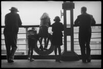 Passengers on the S.S. Mariposa on the deck looking out into the distance, Los Angeles