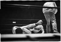 """Wrestlers """"Daniel Boone"""" Savage and Hans Steinke battle it out at the Grand Olympic Stadium.  June 16, 1937."""