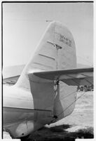 Close-up view of Tupolev ANT-25 aircraft flown from Moscow to San Jacinto, CA, breaking the world record for long-distance flight.  July 14, 1937.