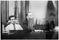 Albert Dyer with his lawyers William Neeley and Ellery Cuff in court, Los Angeles, 1937