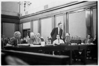 View of the courtroom where child-murderer Albert Dyer's trial began, Los Angeles, 1937