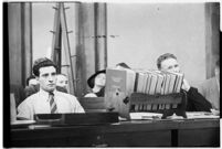 Albert Dyer with his lawyer Ellery Cuff in court, Los Angeles, 1937