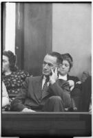 Juror Harold Harby in court for the murder trial of Albert Dyer, Los Angeles, 1937