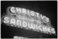Drive-in restaurant sign, Los Angeles, 1937