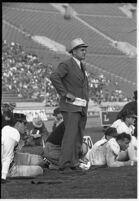 Loyola Marymount Head Coach Tom Lieb watches his team play against the Santa Clara Broncos, Los Angeles, 1937