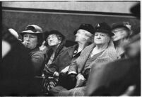 Supporters of Robert Noble who ran a pension scheme watch his misdemeanor trial, Los Angeles, 1937
