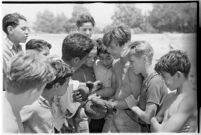 Boys taking part in a free summer camp organized by Los Angeles Sheriff Eugene Biscailuz.  Circa July 1937.