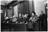 Jury selected for the murder trial of Paul A. Wright, Los Angeles, 1938