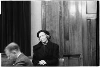 Agnes Thorsen appears at the murder trial of her former employer, Paul A. Wright. January 28, 1938.