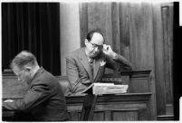 Defense Attorney Jerry Giesler in court, during the murder trial of Paul A. Wright, 1938