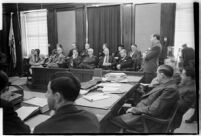 Defense attorney Jerry Giesler, in court during murder trial of Paul A. Wright, circa February 1938