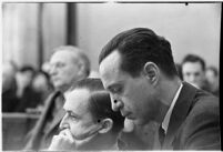 Accused murderer Paul A. Wright in court during his double homicide trial. Los Angeles, 1938.