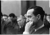 Accused murderer Paul A. Wright in court, Los Angeles, 1938