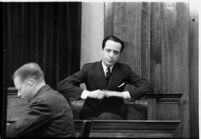 Accused murderer Paul A. Wright on the witness stand, Los Angeles, 1938