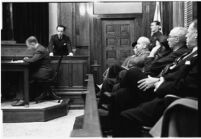 View from the juror's bench of accused murderer Paul A. Wright on the stand, Los Angeles, 1938