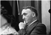 Benjamin E. Erb, juror for the murder trial of Paul A. Wright, in court, Los Angeles, 1938