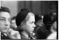 Mrs. Mary E. Smith, an alternate juror on the murder trial of Paul A. Wright, Los Angeles, 1938
