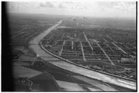 Aerial view of Los Angeles River after a major flood, Los Angeles, 1938
