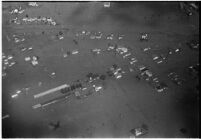 Aerial view of flooded homes in North Hollywood, Los Angeles, 1938