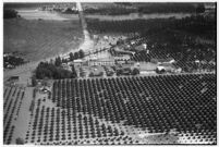 Aerial view of flooded crops in North Hollywood, Los Angeles, 1938