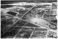 Aerial view of flooded neighborhoods and crops in North Hollywood, Los Angeles, 1938