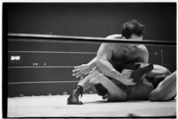 Wrestling match between Italian newcomer Vincent Austeri and Salt Lake City native Del Kunkel at Olympic Auditorium, Los Angeles, 1938