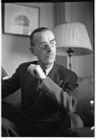 German author Thomas Mann seated in a chair, Los Angeles