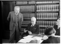 Former F.B.I. chief Joseph E. P. Dunn with attorneys Otto Christensen and Alfred MacDonald, Los Angeles, 1938