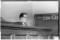 Thomas W. Warner Jr. testifies in his suit against Pearl Antibus, Los Angeles, 1938