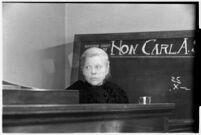 Private detective Pearl Antibus testifies against millionaire Thomas W. Warner, Sr, Los Angeles, 1938