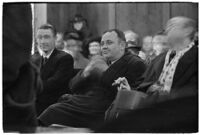 Police Captain Earle E. Kynette sits in court after being charged with conspiracy to commit murder, 1938