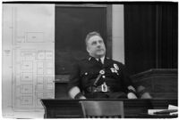 Police Chief James E. Davis testifying before the grand jury about the attempted murder of Harry Raymond, Los Angeles, 1938