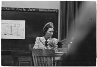Mrs. Zella Jeffers, accused of engaging in immoral acts with her husband, Reverend Joseph Jeffers, in front of guests in their home, Los Angeles, 1939