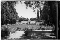View of garden on the estate of film comedian Harold Lloyd and his wife Mildred, Beverly Hills, 1927