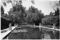 Reflecting pool on the estate of film comedian Harold Lloyd and his wife Mildred, Beverly Hills, 1927