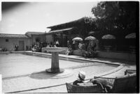 Swimming pool on the estate of film comedian Harold Lloyd and his wife Mildred, Beverly Hills, 1927