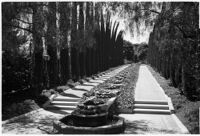 Tree-lined walkway on the estate of film comedian Harold Lloyd and his wife Mildred, Beverly Hills, 1927