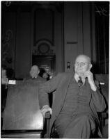 Harry L. Ferguson at the liquor license bribe trial, Los Angeles, 1939