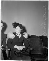Dorothy Liberto, who was granted a divorce, Los Angeles, 1940