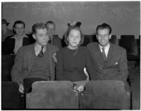 Robert Lange, his sister Ruth Lange and Werner Kawert sitting in a row of seats, Los Angeles, 1940