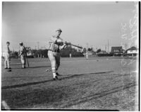 Bruce Konopka, USC Trojans baseball player at batting practice, Los Angeles, 1940