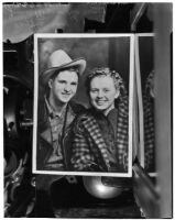 Photograph of Ray Harvey and June Rogers Harvey dressed like a cowboy and cowgirl, Los Angeles