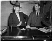 Alleged blackmailer George Wallace, alias Robert M. Nixon, with U.S. Marshal William S. Sweeney, Los Angeles, 1940