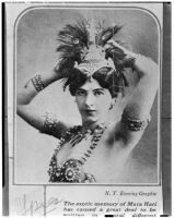 Newspaper clipping featuring Mata Hari, an exotic dancer, courtesan and alleged spy, Los Angeles