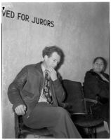Joe E. Barnes sits in a chair reserved for jurors only, Los Angeles