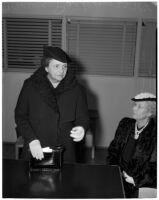 Secretary of Labor Frances Perkins with Antoinette Jones, Los Angeles, 1940