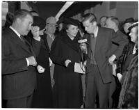 Secretary of Labor Frances Perkins speaks to reporters, Los Angeles, 1940