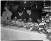 Secretary of Labor Frances Perkins and Mae Stoneman at banquet of the California Federation of Democratic Women's Study Clubs, Los Angeles, 1940