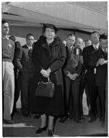 Secretary of Labor Frances Perkins with Lockheed Aircraft Corporation apprentice and officials, Los Angeles, 1940